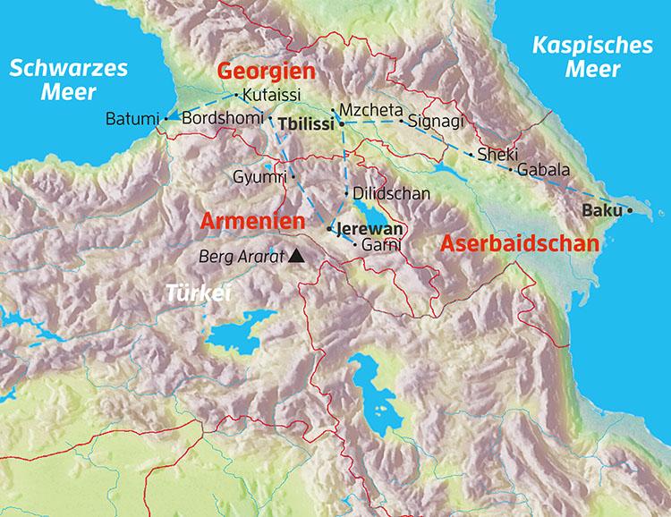 Baku Aserbaidschan Karte.Globalis Reisen Aserbaidschan Georgien Armenien Vom