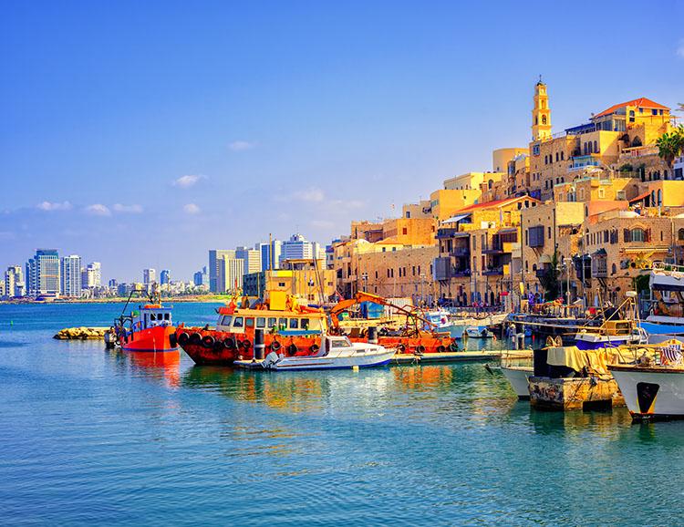 Blick auf Old Jaffa und Tel Aviv