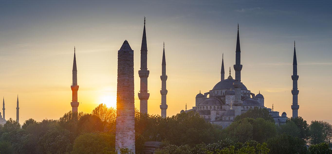 Sonnenuntergang über der Blauen Moschee